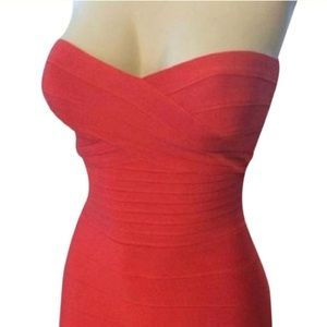 Hervé Leger red Cayenne Denise cocktail dress